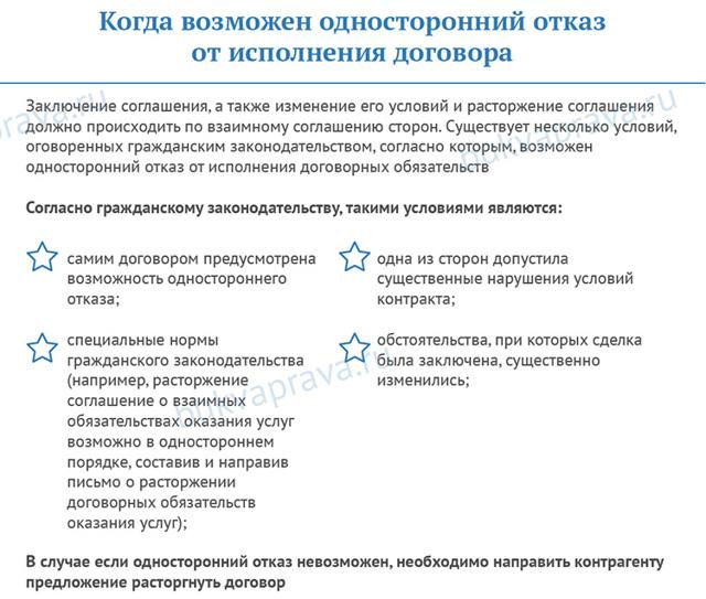 Расторжение договора в одностороннем порядке: образец, правила оформления уведомления
