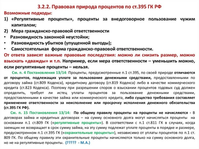 Расчет процентов по статье 395 гк рф: основные моменты